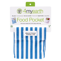 Reusable Cotton Food Pocket - Denim Stripe