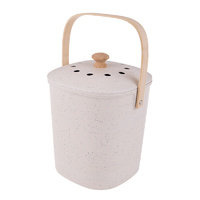 Bamboo Fibre Kitchen Compost Caddy - White