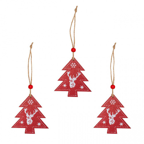 Wooden Christmas Decoration Set of 3 - Red Xmas Tree